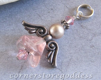 Cornerstoregoddess Pink Glass Angel Charm Pendant Zipper Pull