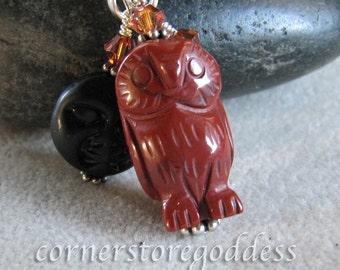 Jasper Midnight Barn Owl Charm/Zipper Pull from Cornerstoregoddess EHAG
