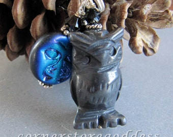 Hematite Hoot Horned Owl Charm/Zipper Pull from Cornerstoregoddess
