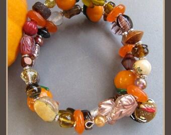Memory Wire Autumn Fall Harvest Thanksgiving Pumpkin Bracelet by Cornerstoregoddess