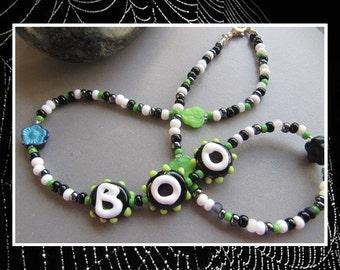 Boo Halloween Necklace EHAG by Cornerstoregoddess
