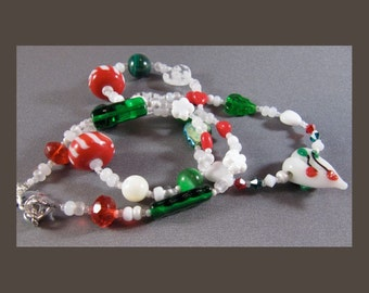 Christmas Lampwork Heart Necklace