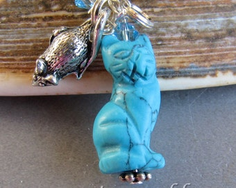 Turquoise-Dyed Howlite Kitty Cat  and Mouse Charm Zipper Pull Pendant by Cornerstoregoddess