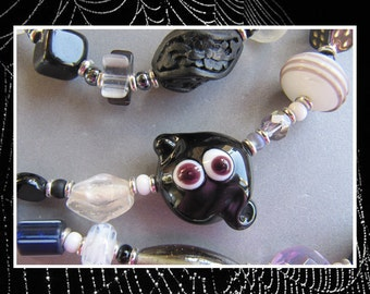 Lampwork Glass Gemstone Black and White Halloween Ghost Necklace EHAG by Cornerstoregoddess