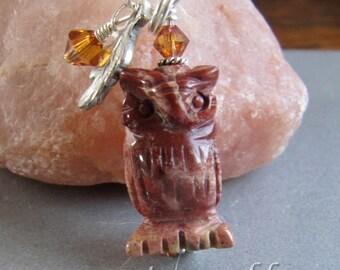 Jasper Horned Owl Charm/Zipper Pull from Cornerstoregoddess
