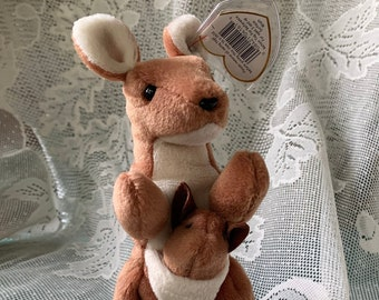 Pouch - RARE Kangaroo Beanie Baby - Original First Edition with Tag Errors