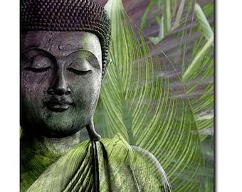 Meditation Vegetation - Zen Buddha Art Canvas - Green and Purple Nature Buddha Art by Christopher Beikmann