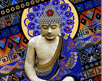 Rhythm of My Mind - Colorful Buddha Art Canvas -  Buddhist Meditation Giclee Print by Christopher Beikmann