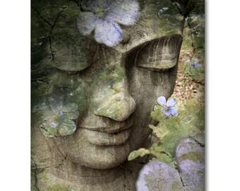 Green Buddha Canvas - Buddhist Wall Art Picture - Zen Buddha Art Print by Christopher Beikmann - Inner Tranquility