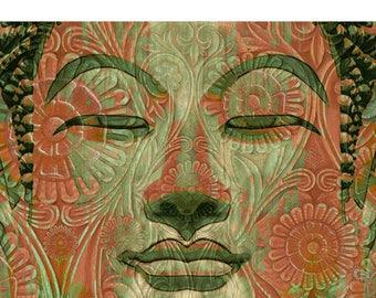 Green and Orange Buddha Art Canvas - Manifestation of Mind - Zen Giclee Print - by Buddha Artist Christopher Beikmann