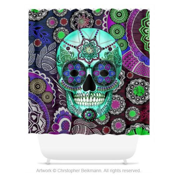 Sugar Skull Shower Curtain Purple And Green Paisley Skull Etsy