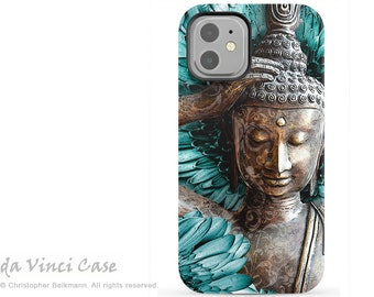 Blue and Brown Buddha Case for Apple iPhone 12 / 12 Mini / 12 Pro / 12 Pro Max - Zen Dual Layer Tough Case - Mind Bloom