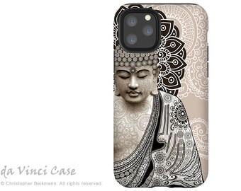 Paisley Buddha Case for Apple iPhone 12 / 12 Mini / 12 Pro / 12 Pro Max - Zen Dual Layer Tough Case - Meditation Mehndi