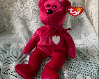 Valentina - RARE Magenta Bear Beanie Baby with white embroidered heart - Original First Edition with Tag Errors