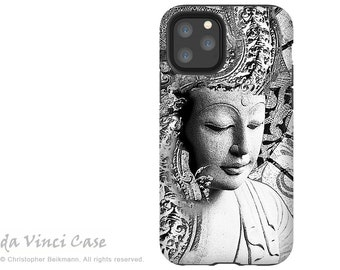 Black and White Buddha Case for Apple iPhone 12 / 12 Mini / 12 Pro / 12 Pro Max - Zen Dual Layer Tough Case - Bliss of Being
