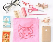 Cute Kitty Zip Pouch - PINK