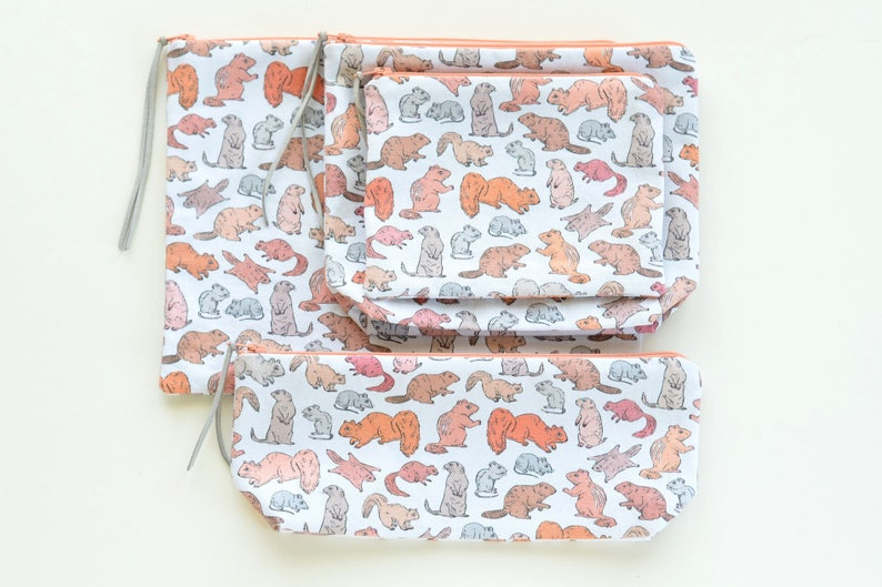 Cute Gnawing Rodents Zipper Pouch  Original Fabric Design  image 0