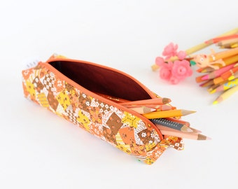 SALE | Pencil Bag - Orange Patch Pattern Vintage Fabric - Zipper and Loop