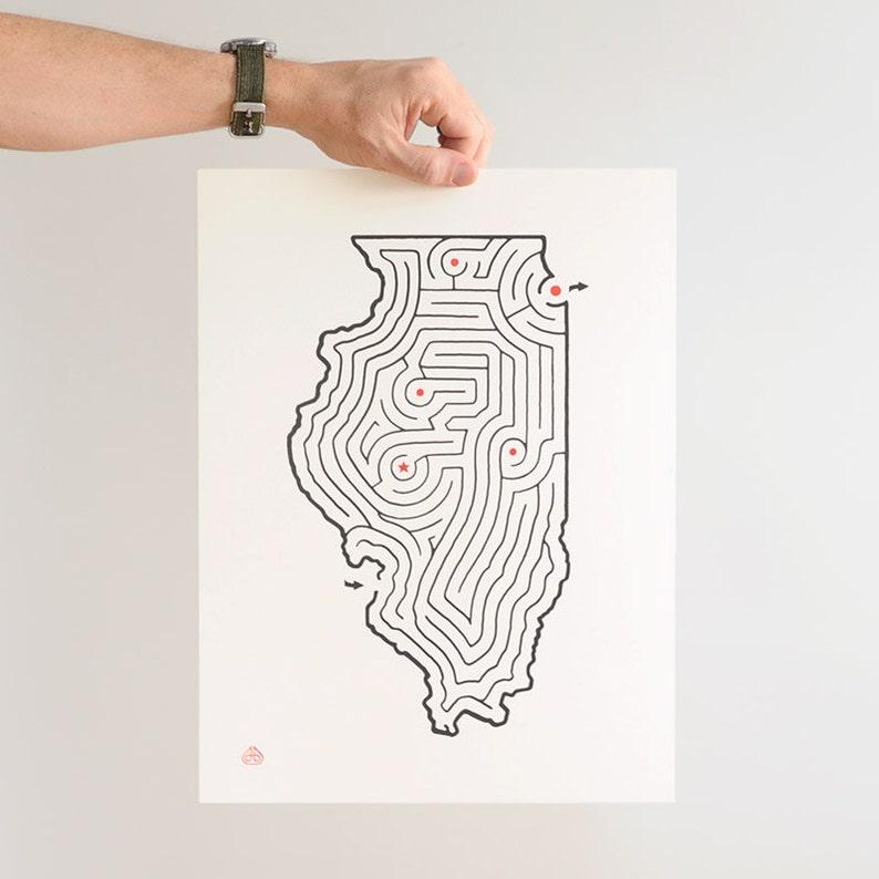 12x16 Illinois Map State Maze Offset Print Etsy