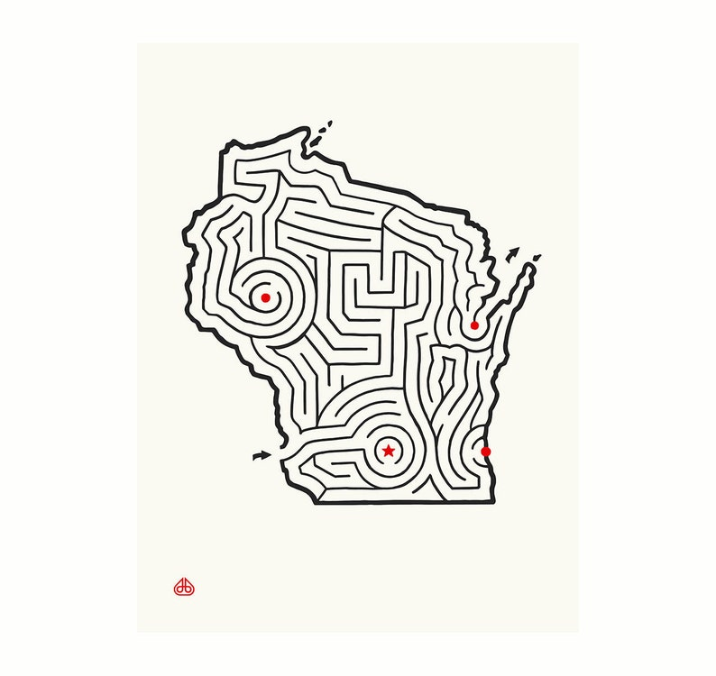 12x16 Wisconsin Map State Maze Offset Print Hand Drawn Etsy