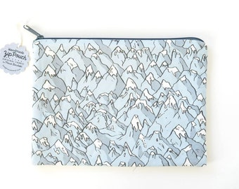 Forever Mountains Large Flat Zipper Pouch   Original Fabric Design   Grey Snow-Capped Peaks