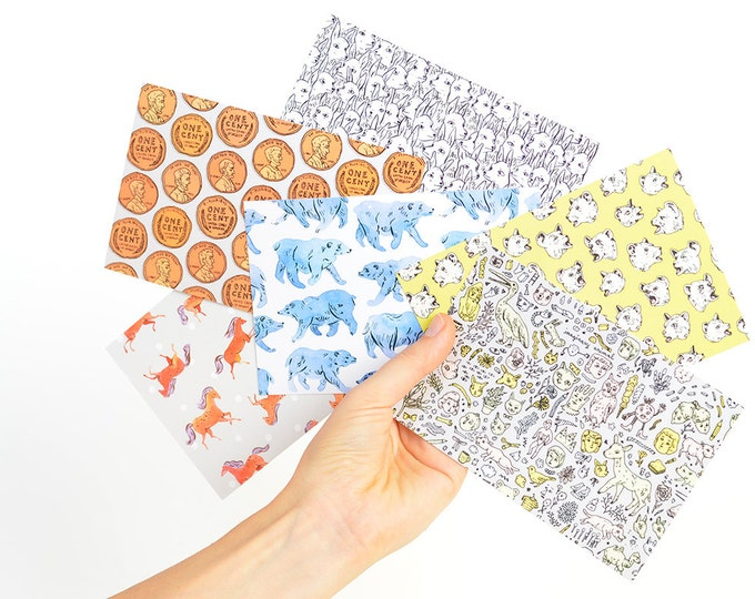 Surface Pattern Postcard Set | 6 Textile Designs by Marie Gardeski