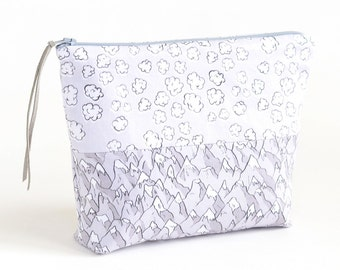 Forever Mountains and Popcorn Clouds Boxy Zipper Pouch or Cosmetic/Project Bag   Original Fabric Design   Organic Cotton Sateen