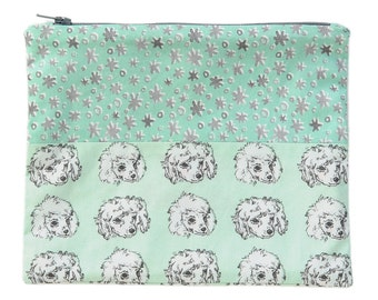 Poodle Pups and Stars Zipper Pouch   Original Fabric Designs