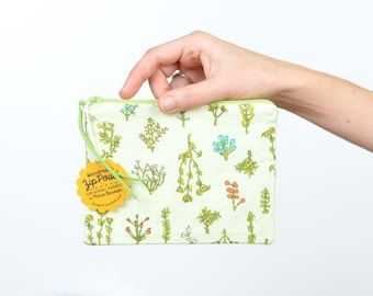 Light Green Plant Bits Small Flat Zipper Pouch | Original Fabric Design
