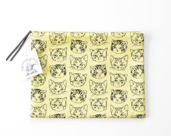 Cute Cats Large Flat Zipper Pouch   Original Fabric Design   Yellow/Mustard