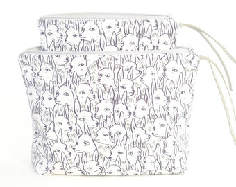 Deer Garden Boxy Zipper Pouch   Original Fabric Design   Cosmetic or Project Bag