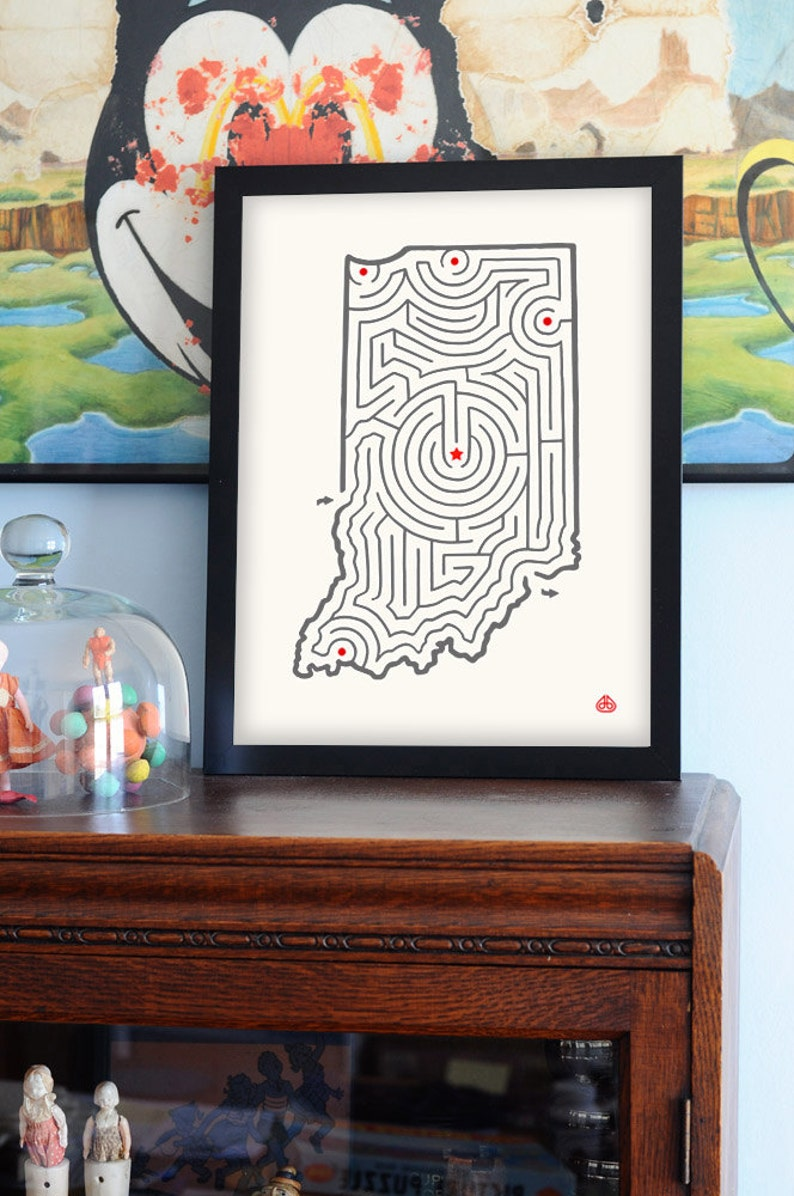 12x16 Indiana Map Maze Offset Print Hand Drawn Design Etsy
