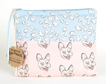 Popcorn Clouds +  Crazy Fox Flat Patchwork Pouch | Cute and Quirky Original Fabric