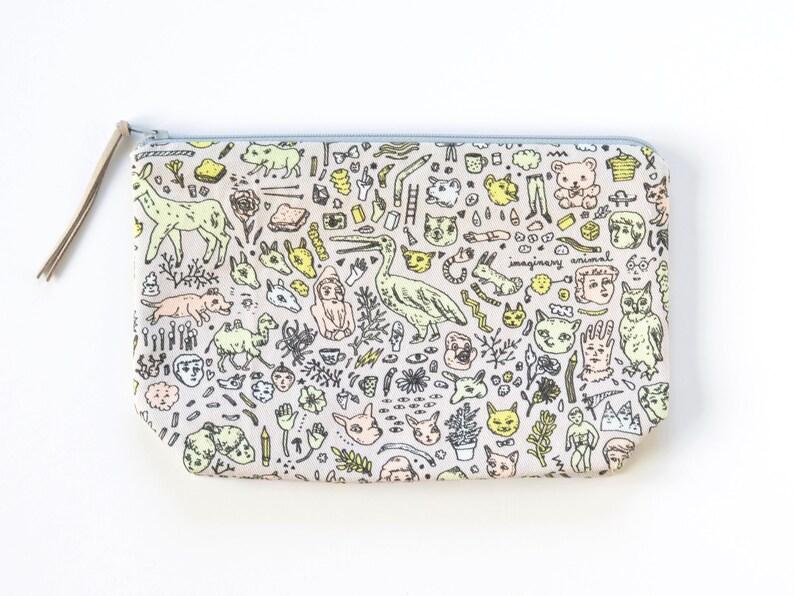 Grey  Pink  Mint Doodletown Zipper Pouch Original Fabric Design Medium Boxy