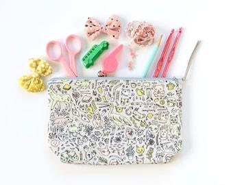 Doodletown Zipper Pouch   Medium Boxy   Original Fabric Design   Grey / Pink / Mint