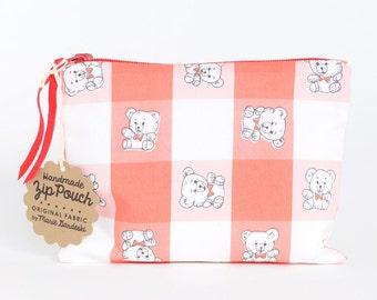 SALE   Teddy Bear's Picnic Zipper Pouch   Original Fabric Design