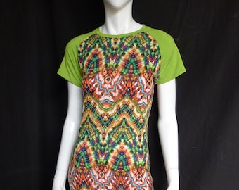 SALE! Raglan Maxi Dress with Acid Green Short Sleeves and Psychedelic Print, Festival Clothing