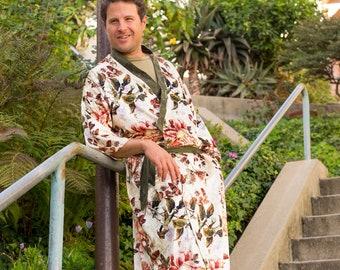 Velvet Floral Kimono with Brocade Trim, Pockets, Belt - Loungewear, Robe, Festival Clothing, Menswear, Burning Man