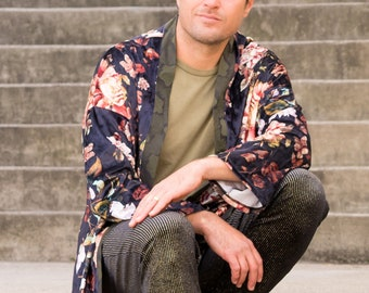 Velvet Floral Kimono with Raw Silk Trim, Robe, Festival Clothing, Loungewear, Burning Man, Unisex