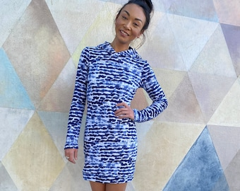 Cotton Hoodie Dress, Indigo Brushstokes, Tie-Dye, Mini Length