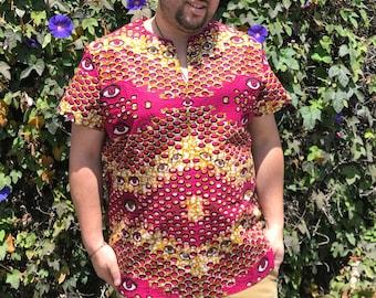 Trippy Eyeball Shirt, Pullover Shirt, Dashiki, Ankara Cotton, Festival Clothing, Burning Man, Psychedelic