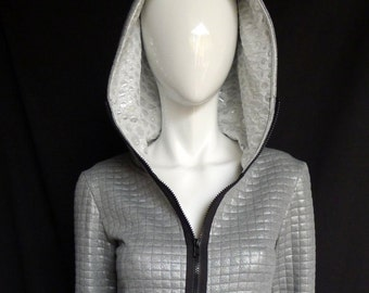Metallic Silver Quilted Zip Up Hoodie with Shimmery Hood Lining - Tunic Length, Festival Clothing