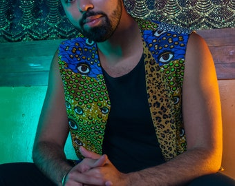 Eye Assault Vest with Leopard Print Lining, Glow-in-the-Dark Star on Shoulder