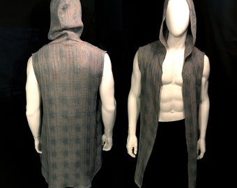 Long Hooded Vest, Grey Loose Weave Cotton Houndstooth, Festival Clothing, Menswear, Unisex, Burning Man