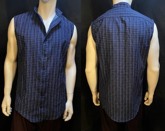 Indigo Grid Sleeveless Button Up Shirt with Band Collar