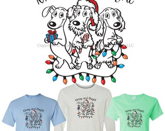 Dachshund Holiday T-Shirt Merry and Bright