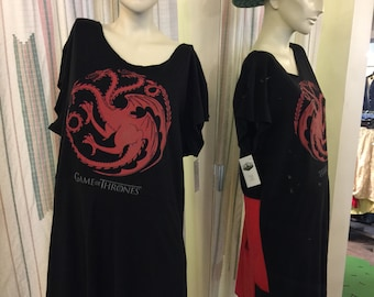 Game of thrones dress XL   Neck Dress Tunic Women's Sundress  from repurposed Tshirts  black and Red repurposed tshirts Dress Cotton causal