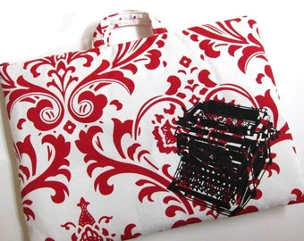 Laptop Bag - Vintage Typewriter on Red and White Damask - Fits a 15 inch MacBook