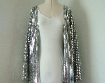 LONG silver kimono, Disco, Kimono Jacket, silver, sparkly, summer, sequin, party, rave, fancy dress,  new year, medium, festival clothing