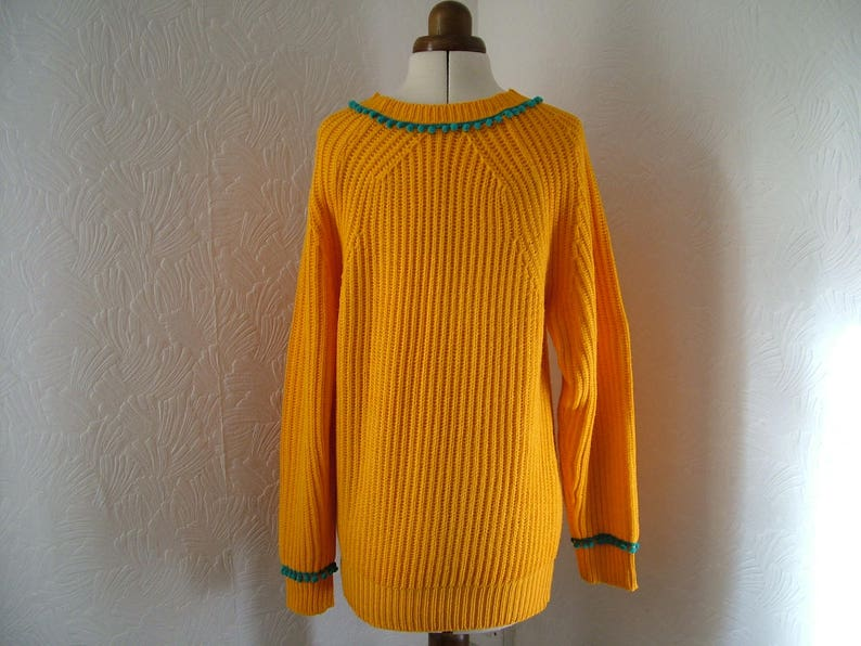 sweater US 12 turquoise gemstones refashioned zero waste pullover Restyled yellow jumper teal blue sunflower yellow pompom UK 14